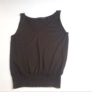 VINTAGE THE LIMITED BROWN SOFT KNIT SLEEVELESS TOP